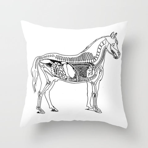 Horse Anatomy Pillow Cover - Pillow Cover - AlphaVariable