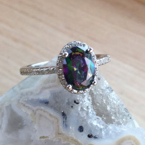 Mystic Topaz Engagement Ring - Ring - AlphaVariable
