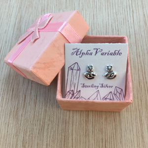 Sterling Silver Cat Stud Earrings - Sterling Silver Studs - AlphaVariable