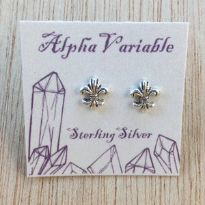 Sterling Silver Fleur De Lis Stud Earrings - Sterling Silver Studs - AlphaVariable