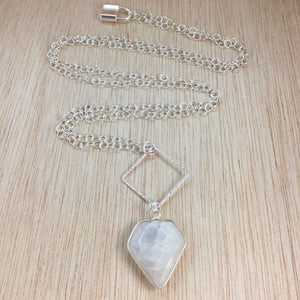 Sterling Silver Moonstone Necklace - Moonstone Necklace - AlphaVariable