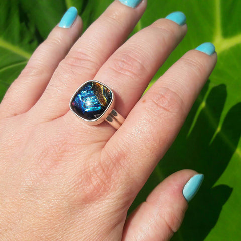 Sterling Silver Dichroic Glass Ring - Rings - AlphaVariable