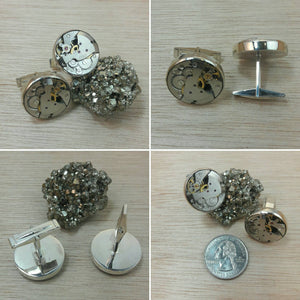 Sterling Silver Watch Movement Cuff Links - Cuff Links - AlphaVariable