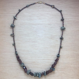 Sterling Silver Garnet and Pyrite Necklace - Necklace - AlphaVariable