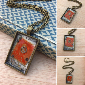 Steampunk Gear and Vintage Stamp Necklace - Pocket Watch Necklace - AlphaVariable
