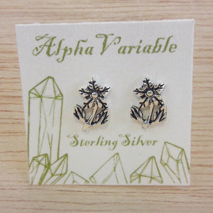 Sterling Silver Flower Stud Earrings - Sterling Silver Studs - AlphaVariable