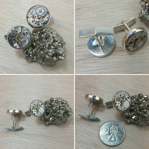 Sterling Silver Steampunk Cuff Links - Cuff Links - AlphaVariable