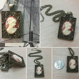 Steampunk Gear and Cameo Necklace - Pocket Watch Necklace - AlphaVariable