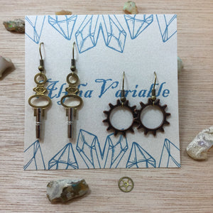 Watch Key & Gear Earrings - Earrings - AlphaVariable