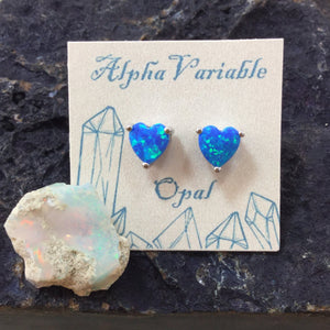 Sterling Silver Opal Heart Stud Earrings - Earrings - AlphaVariable