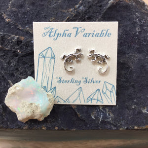 Sterling Silver Lizard Stud Earrings - Earrings - AlphaVariable