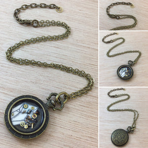 Steampunk Gear Resin Necklace - Pocket Watch Necklace - AlphaVariable