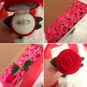 Red Velvet Rose with Stem Ring Gift Box - Gift Box - AlphaVariable