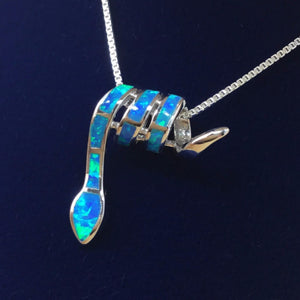 Sterling Silver Opal Snake Necklace - Necklace - AlphaVariable