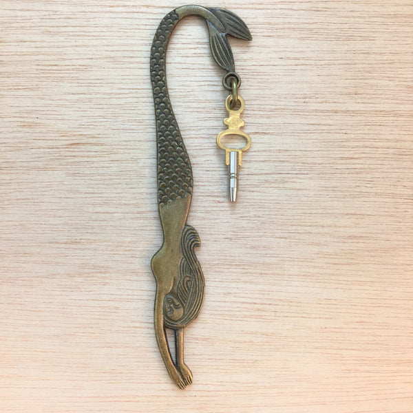 Steampunk Pocket Watch Winding Key Mermaid Bookmark - Bookmark - AlphaVariable