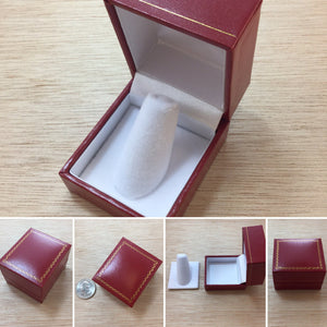 Red Leather Ring Gift Box - Gift Box - AlphaVariable