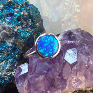 Blue Circle Opal Ring - Ring - AlphaVariable