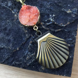 Sea Shell Druzy Pocket Watch Necklace - Pocket Watch Necklace - AlphaVariable
