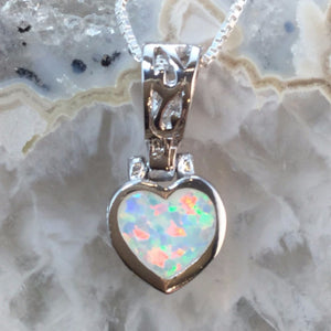 Sterling Silver Opal Heart Necklace - Necklace - AlphaVariable