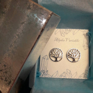 Sterling Silver Tree of Life Earrings - Earrings - AlphaVariable