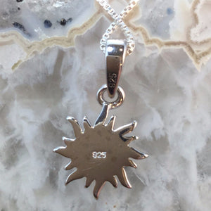 Sterling Silver Opal Sun Necklace - Necklace - AlphaVariable