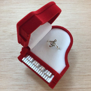 Treble Clef Ring in Piano Gift Box - Sterling Silver Rings - AlphaVariable
