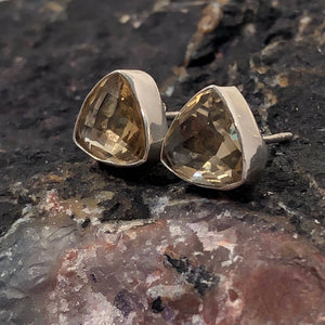 Citrine Triangle Stud Earrings - Earrings - AlphaVariable