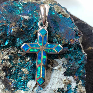 Blue Opal Cross Necklace - Necklace - AlphaVariable