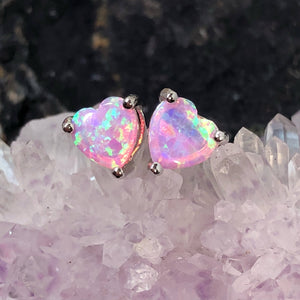 Pink Opal Heart Earrings - Earrings - AlphaVariable