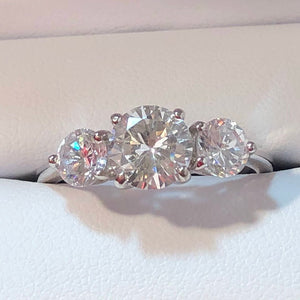 Triple Stone Engagement Ring Sterling Silver CZ Diamond - Rings - AlphaVariable