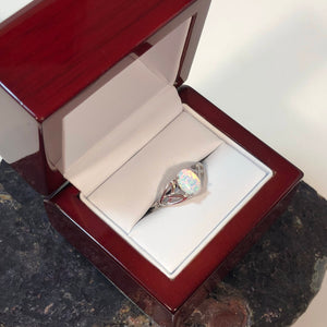 Celtic Opal Ring + Cherry Wood Gift Box - Ring - AlphaVariable