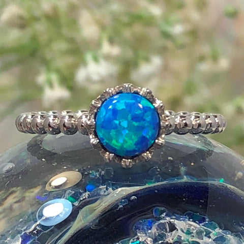 Blue Opal Crown Ring - Ring - AlphaVariable