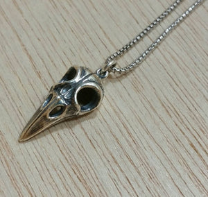 Sterling Silver Bird Skull Necklace - Necklace - AlphaVariable