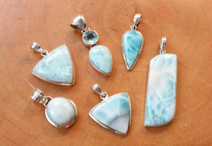 Sterling Silver Larimar Necklace - Larimar Necklace - AlphaVariable