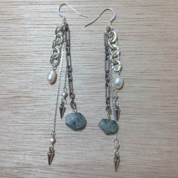 Sterling Silver Aquamarine Freshwater Pearl Earrings - earrings - AlphaVariable