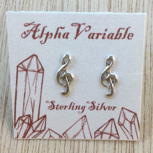 Sterling Silver Music Stud Earrings - Earrings - AlphaVariable
