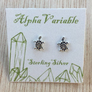 Sterling Silver Turtle Stud Earrings - Sterling Silver Studs - AlphaVariable