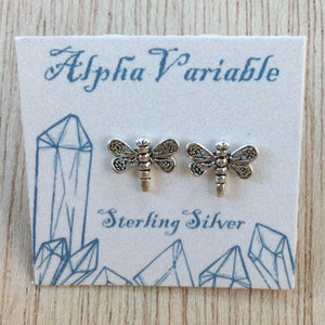 Dragonfly Earrings - Sterling Silver Studs - AlphaVariable