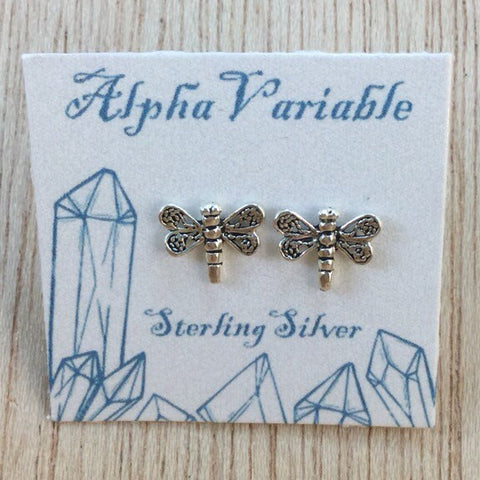 Sterling Silver Dragonfly Stud Earrings - Sterling Silver Studs - AlphaVariable