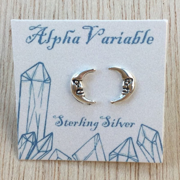 Sterling Silver Moon Earrings - Sterling Silver Studs - AlphaVariable