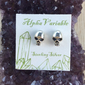 Sterling Silver Skull Stud Earrings - Sterling Silver Studs - AlphaVariable