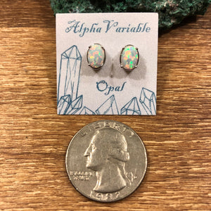 Oval Opal Earrings + Glitter Egg Gift Box -  - AlphaVariable