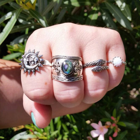Sterling Silver Abalone Ring - Rings - AlphaVariable