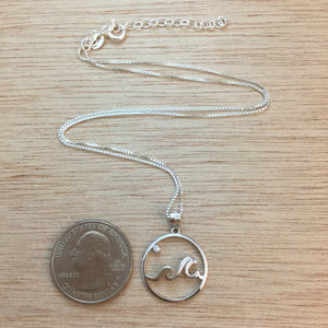 Sterling Silver Wave Necklace - Necklace - AlphaVariable