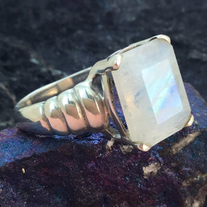 Moonstone Ring Sterling Silver - Sterling Silver Rings - AlphaVariable