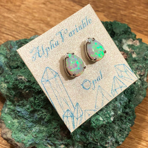 Opal Earrings with Glitter Egg Gift Box -  - AlphaVariable