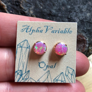 Rose Gold Pink Opal Earrings - Earrings - AlphaVariable
