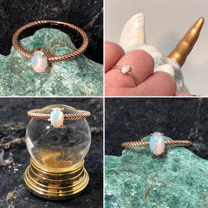 Rose Gold Opal Ring - Ring - AlphaVariable