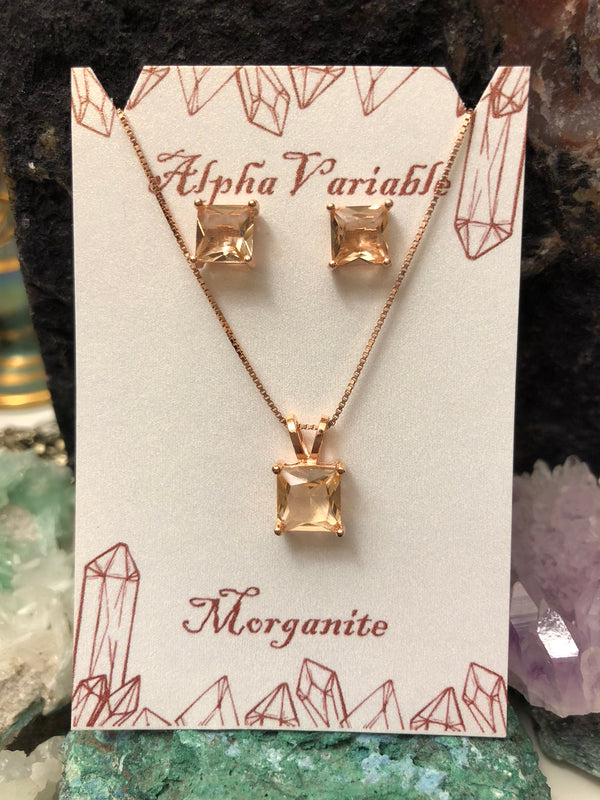 Rose Gold Morganite Earrings + Necklace Set