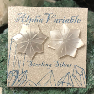 Mother Of Pearl Flower Earrings - Earrings - AlphaVariable